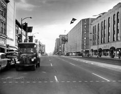 Broad Street--notice the vintage mail truck and lack of traffic,October 1955