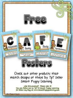 FREE Daily 5 CAFE posters...and you can get Reading Strategy Cards that match! Lots of designs.  This will save me so much time!