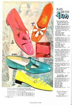 1968 Colorful PVC Shoes were cheaper because new inventions in types of plastic and vinyl made making shoes inexpensive to mass produce. Baby pink, lime green, deep purple, mustard yellow, and sky blue to name a few. 60s And 70s Fashion, Mod Fashion, Fashion Shoes, Vintage Fashion, Victorian Fashion, Couture Fashion, Street Fashion, Mode Vintage, Vintage Shoes