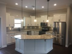 Simple white L shaped kitchen w/island. You are in the right place about kitchen island granite Here U Shaped Kitchen Island, Kitchen Island Shapes, L Shape Kitchen Layout, L Shaped Island, L Shaped Kitchen Designs, Kitchen Layouts With Island, Farmhouse Kitchen Island, Kitchen Islands, Contemporary Kitchen Cabinets
