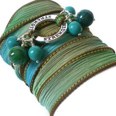 silk ribbon wrap bracelet yoga inspired turquoise by jcudesigns, £12.00