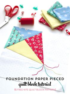 Learn how to foundation paper piece with this free foundation paper piecing tutorial for beginners. Includes free kite paper pieced quilt block pattern. How to paper piece a quilt block.