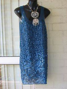 SALE...Vintage  Stunning Sheer Teal Green Sequined art Deco Flapper Great Gatsby  80s Mini Dress