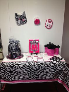 Superb Pink And Zebra Baby Shower Decorations **Zebra Baby Outfit On Wall For  Decor*