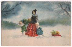 Vintage Winter Snow Scene Woman and Children with Gifts on the Sled Old Postcard Postmarked 1924 from Pottstown PA