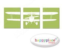 Biplane Boys Bedroom Art Set of 3 Printable by HappyPlaceArt, $8.00