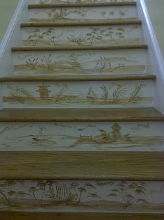 Hand painted chinoiserie risers. I like this idea, personalize it anyway you chose.
