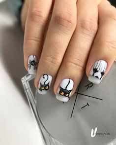 Ногтеманияк | Маникюр, ногти, идеи дизайна Cat Nail Art, Animal Nail Art, Cat Nails, Cat Nail Designs, Fall Nail Art Designs, Coffin Nails Glitter, Cute Acrylic Nails, Gothic Nails, Magic Nails
