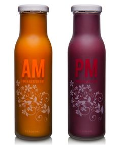 """""""This packaging submission is for a nutrition company based out of San Diego, California called Aviara. The products are an AM morning health drink and a PM evening health drink. The designs were silk screened ink on frosted glass. Let me know if you need any more information regarding these products to help with your decision."""""""