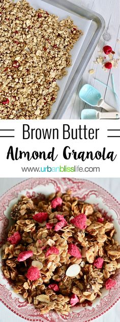 This Brown Butter Almond Granola is sweet and crunchy, and packed with protein - perfect make-ahead breakfast to help your family's mornings go smoothly throughout the week! #ad #CapturingTraditions