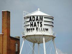 Adam Hats in Deep Ellum, Dallas by Texas Eagle Canton St, Dallas, TX Loving Texas, Water Tower, Dallas Texas, The Wiz, The Neighbourhood, Deep, Towers, Robot, Cities
