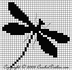 Filet Crochet Dragonfly Chart