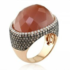 Pink gold Brown moonstone ring with chocolate and white diamonds White Diamond Ring, White Diamonds, Moonstone Jewelry, Gemstone Rings, Pink And Gold, Rose Gold, Rust, Bronze, Bling