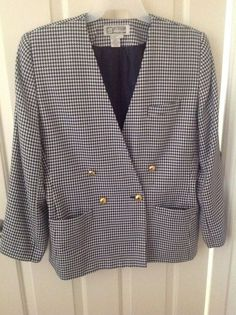 ATRIUM Collection Professional Jacket Navy White Check Sz 14 Double BreastStyle #Atrium #DoubleBreastStyle