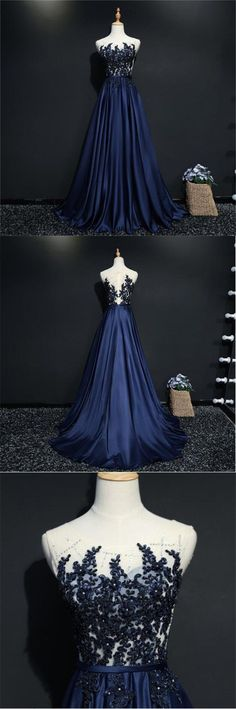 Sleeveless Scoop Blue Lace Appliques, Newest Custom Prom Dresses, Bridesmaid Dresses, PD0359 #longpromdresses