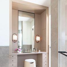 Bathroom With Makeup Vanity, Bedroom Vanity Set, Closet Vanity, Makeup Vanity Lighting, Bathroom Vanity Designs, Built In Dressing Table, Dressing Table Design, Dressing Table In Bathroom, Dressing Tables