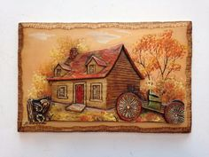 Collectible carved wood plaque signed by H Nadeau. ebsAmerica