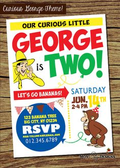 Curious George Little Monkey Themed party invitation... for the curious little child in your life! By purchasing this listing you will receive a