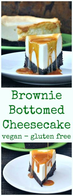 Brownie Bottomed Cheesecake - the most outrageous and glorious cheesecake we make! Rich brownie base, topped with a traditional New York Cheesecake. Healthy Desserts, Easy Desserts, Delicious Desserts, Vegan Dessert Recipes, Gluten Free Desserts, Vegan Treats, Vegan Foods, Vegan Cheesecake, Birthday Desserts