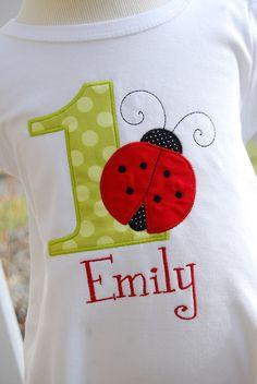 Personalized Birthday Girl Ladybug TShirt Design by TwoKangaroos, $33.00