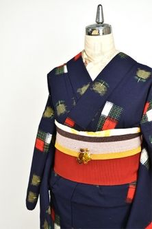 <Img class = 'new_mark_img1' src = 'http: //shimaiya.jp/img/new/icons6.gif' style = 'border: none; display: inline; margin: 0px; padding: 0px; width: auto;' /> Tulip in navy and clay Art geometric retro modern wool single kimono