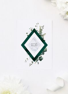 Our Deep Forest Green Botanical Clover Wedding Invitations feature green foliage, stylish marble and bold forest green tones in contemporary diamond shapes. Botanical Wedding Theme, Woodland Theme Wedding, Botanical Wedding Invitations, Wedding Invitations Online, Floral Invitation, Floral Wedding Invitations, Invites, Forest Wedding, Wedding Themes