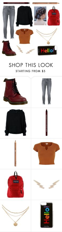 """My Spring school style"" by hailey-smith-13 ❤ liked on Polyvore featuring Dr. Martens, Frame, RtA, NYX, JanSport and Edie Parker"