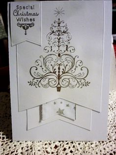 """Welcome back to this week's Watercooler Wednesday Challenge 159 – Marsha's """"All About Christmas"""" Challenge. My card this week has clean lines in silver and white. Christmas Wishes, All Things Christmas, Christmas Crafts, Christmas Tree, Christmas Challenge, Clean Lines, Cas, I Card, Wednesday"""