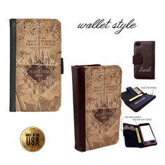 Harry Potter Marauder's Map handbook Smartphone case for iphone 4 4s 5 5s 5c Galaxy S3 S4 S5 (plastic snap on or leather flip wallet)