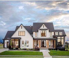 60 Most Popular Modern Dream House Exterior Design Ideas - Ideaboz Dream House Exterior, Dream House Plans, Dream Houses, Black Trim Exterior House, Home Exteriors, House Exterior Design, Black Windows Exterior, Exterior Houses, My Dream House