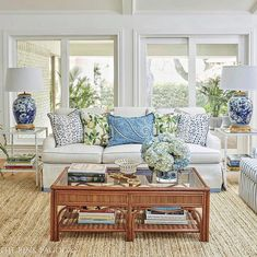The Pink Pagoda's family room for the fall 2017 One Room Challenge™ with Stroheim performance fabric, Milgard windows and door, Annie Selke rug, and lots of blue and white. Coastal Living Rooms, Living Spaces, Living Room Furniture, Living Room Decor, Dining Room, Family Room Design, Family Rooms, White Decor, Living Room Designs