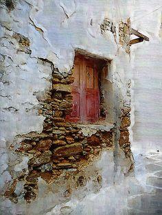 Corner Window / a corner window in Mykonos, Greece -by Jim Laskovicz Old Windows, Windows And Doors, Antique Windows, Vintage Windows, Abstract Canvas, Oil Painting On Canvas, Painting Abstract, Vintage Doors, Wall Paint Colors