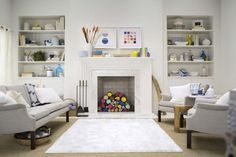 Really want built in bookcases on either side of my fireplace.  Great mantel styling tips from Emily Henderson - Target Styling Video. - VLH