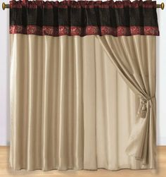 """4pcs Tan Burgundy Embroidery Tree Branch with Leaf Window Curtain / Drape Set w/ Sheer Backing & Tassels by Chezmoi Collection. $29.99. Easy Care- Machine Washable . Fabric Content 100 % Polyester. Each panel size: 58"""" x 84"""" in inch. 18"""" Valance Drop.. Sheer backing and Valance are attach to the curtain.. Matching Comforter Set Available. Each curtain set include 2 panel and 2 Tassel. Window treatments add refinement and style to otherwise dull, boring windows..."""