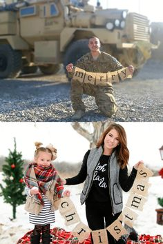 family Christmas picture during a deployment Deployment Party, Military Deployment, Military Wife, Army Girlfriend, Homecoming Pictures, Homecoming Dresses, Christmas Crafts For Gifts, Christmas Cards, Army Crafts