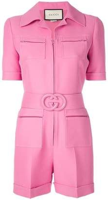 Gucci Short belted playsuit Sold Out at Farfetch Look Fashion, Fashion Outfits, Womens Fashion, Pink Playsuit, Designer Jumpsuits, Seventies Fashion, Looks Style, My Outfit, Ideias Fashion