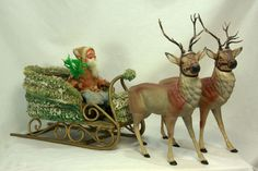 Antique German Santa In Sleigh with Reindeer Candy Containers in Collectibles, Holiday & Seasonal, Christmas: Vintage German Christmas, Old Fashioned Christmas, Christmas Past, Victorian Christmas, Vintage Christmas Ornaments, Father Christmas, Christmas Items, Christmas Images, Christmas Decorations