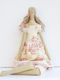 Pretty fabric doll in pink rose dress- blonde cloth doll,art doll cute stuffed doll, rag doll - Collectible shabby chic gift for girls. $42.00, via Etsy.