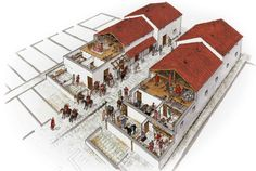 reconstruction of the barracks at the castrum in Chester