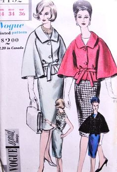 Early Stylish CAPE SUIT and Blouse Pattern Vogue Special Design 4192 Daytime or Evening Stunning Style Bust 34 Vintage Sewing Pattern FACTORY FOLDED -Authentic vintage sewing patterns: This is a fabulous original dress making pattern, not a copy. Vintage Vogue Patterns, Vintage Designs, Vintage Coat, Looks Vintage, Retro Fashion, Vintage Fashion, Patron Vintage, Dress Making Patterns, Moda Vintage