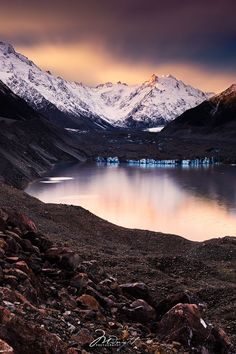 ~~Cold as Ice | Mount Cook kissed from the last bit of sunshine, New Zealand |  by Chrystal Hutchinson | Midnight Photography~~
