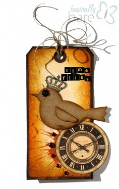 Time Flies tag by Basically Bare designer @DeeDee Catron, featuring the Gentler Times line from the Paper Loft
