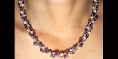 Amethyst and pearl rope necklace N521