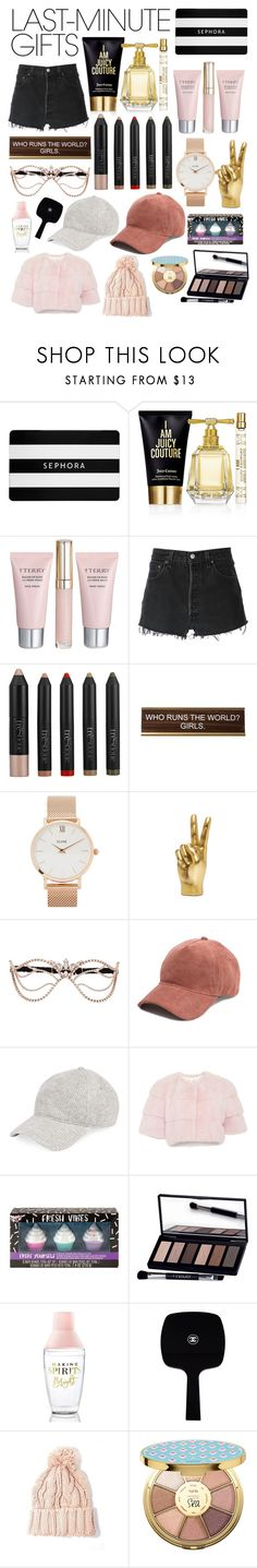 """""""#PolyPresents: Last-Minute Gifts"""" by glitteredxkylie ❤ liked on Polyvore featuring Sephora Collection, Juicy Couture, By Terry, RE/DONE, trèStiQue, He Said, She Said, CLUSE, Agent Provocateur, Gucci and Fashion Angels"""