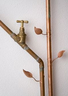 Leaves on copper pipes
