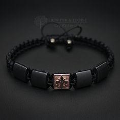 Mens Bracelet, Fleur De Lis, Macrame Bracelet, Jewelry For Men and Women, Fleur De Lis, Braccialetto, pulsera, armband by JuniperandEloise on Etsy