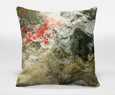Almohada decorativa con el arte abstracto, 16x16, 18x18, 20x20 en color gris cálido y rojo, cojín terminado, almohada completa, Bendición B
