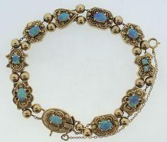 Victorian C 1900 14k Yellow Gold Opal Slide Bracelet