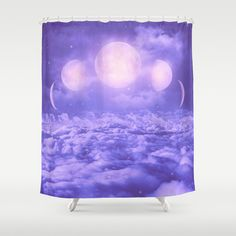 Uncertain.+Alone.+Cratered+by+Imperfections.+(Loyal+Moon+II)+Shower+Curtain+by+Soaring+Anchor+Designs++-+$68.00
