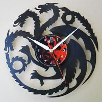 Game of thrones , Handmade vinyl record laser cut modern wall clock fun gift